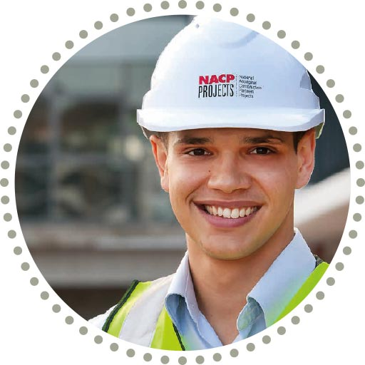 NACP Worker in branded hard hat