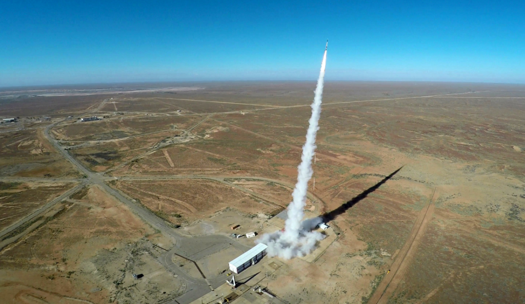 Aerial view rocket launch